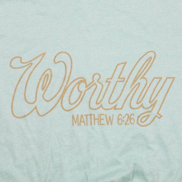 """Mint Bella Canvas short sleeve graphic boutique tee featuring """"Worthy"""".  - Pack Breakdown: 6pcs / pack - Sizes: 1-S / 2-M / 2-L / 1-XL - 52% Cotton, 48% Polyester"""