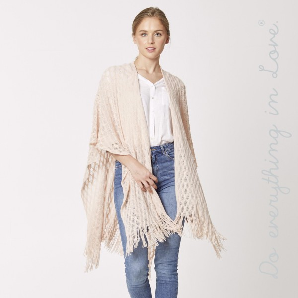 """Do everything in Love brand honeycomb knit ruana with fringes.  - One size fits most 0-14 - Approximately 35"""" L - 100% Acrylic"""