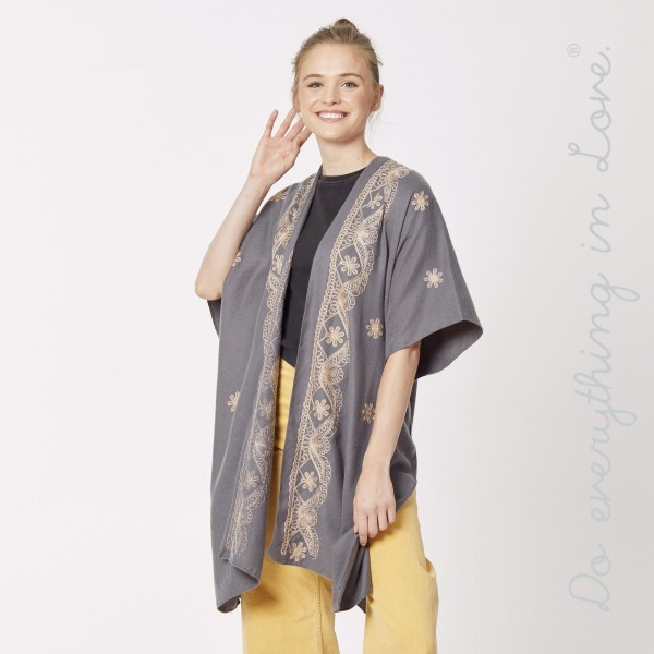 "Do everything in Love brand floral embroidered kimono.  - One size fits most 0-14 - Approximately 35"" L - 100% Polyester"