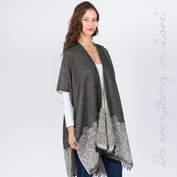 """Do everything in Love brand damask bordered kimono with frayed edges.  - One size fits most 0-14 - Approximately 37"""" L - 65% Acrylic, 35% Polyester"""