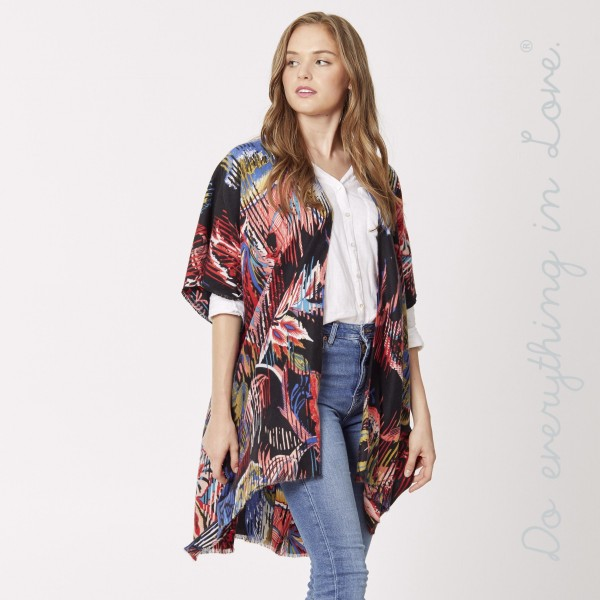 "Do everything in Love brand floral print kimono.  - One size fits most 0-14 - Approximately 35"" L  - 100% Polyester"