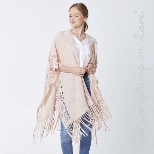 """Do everything in Love brand lightweight open knit kimono with fringes.  - One size fits most 0-14 - Approximately 36"""" in length - 100% Acrylic"""