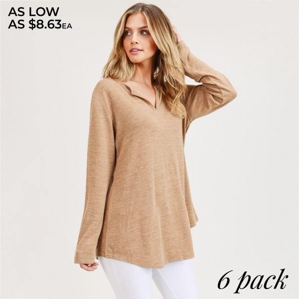 """Women's solid color long sleeve split v-neck tunic top.  • Long sleeves • Split neckline • Round hem • Soft, breathable, cotton-blend fabrication • Imported  - Pack Breakdown: 6pcs/pack - Sizes: 2S / 2M / 2L - Approximately 29"""" in length - 80% Polyester, 20% Cotton"""