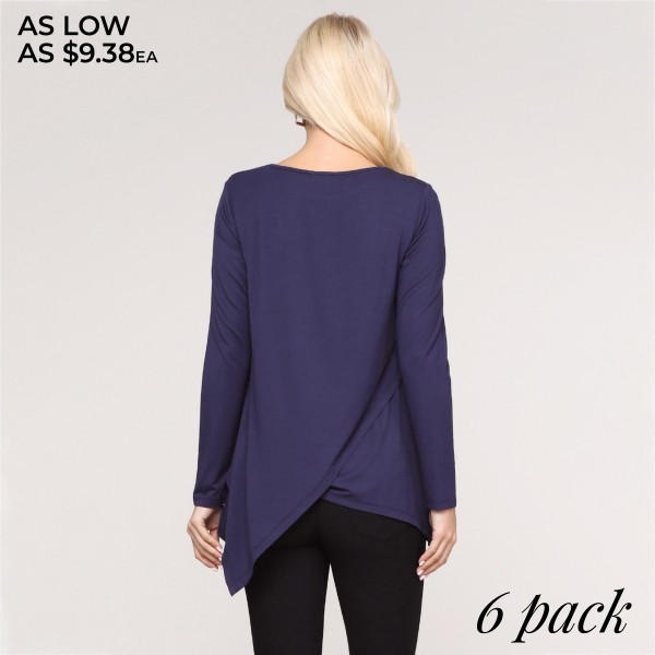 """Women's solid color long sleeve asymmetrical hem tunic top.  • Long sleeves • Round neckline • Asymmetrical hemline • Soft and comfortable fabric with stretch • Perfect for layering with jeans or leggings • Imported  - Pack Breakdown: 6pcs/pack - Sizes: 2S / 2M / 2L - Approximately 30"""" in length  - 95% Rayon, 5% Spandex"""
