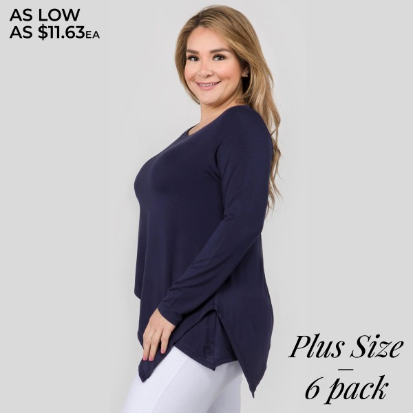 """Women's plus size solid color long sleeve asymmetrical hem tunic top.  • Long sleeves • Round neckline • Asymmetrical hemline • Soft and comfortable fabric with stretch • Perfect for layering with jeans or leggings • Imported  - Pack Breakdown: 6pcs/pack - Sizes: 2-XL / 2-2XL / 2-3XL - Approximately 26"""" in length. Hem point 31""""  - 95% Rayon, 5% Spandex"""