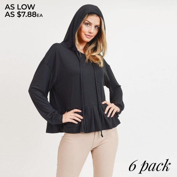 """Women's solid color long sleeve hooded ruffle hem top.  • Long sleeves with banded cuffs • Ruffled hemline • Attached hood with drawstring accents • Soft and comfortable fabric with stretch • perfect for styling with jeans or leggings • Imported  - Pack Breakdown:  - Sizes: 2S / 2M / 2L - Approximately 22"""" in length - 95% Polyester, 5% Spandex"""