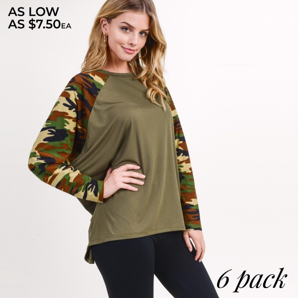 """Women's camouflage domain long sleeve top.  • Camouflage dolman sleeves • Round neckline • Oversized silhouette • Soft and comfortable fabric • Imported  - Pack Breakdown: 6pcs/pack - Sizes: 2S / 2M / 2L - Approximately 28"""" in length - 95% Polyester, 5% Spandex"""