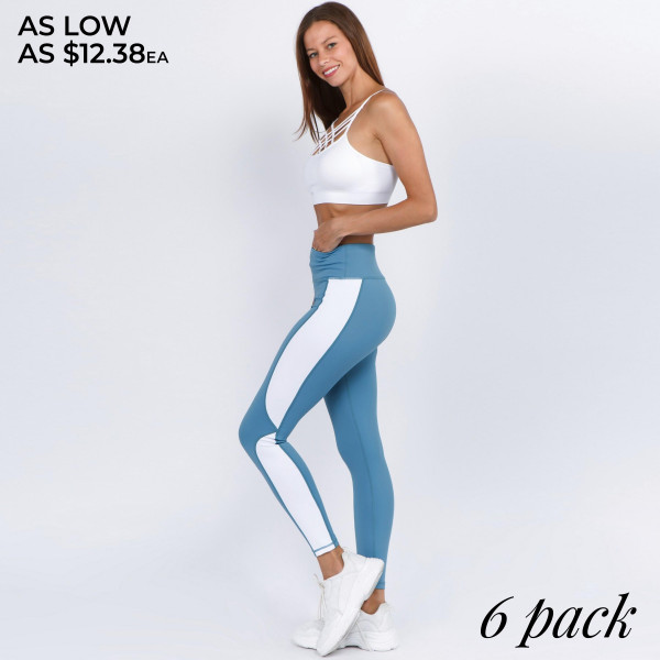 """High rise color block athletic leggings.   • High rise waistband with hidden pocket for loose items  • Contrast color block side detail  • 4 way stretch for a move with you feel  • Moisture wick fabric  • Fits like a glove  • Flat lock seams prevent chafing; triangle gusset eliminates cameltoe  • Full length design  • Perfect for gym, yoga, zumba, running  • Full length  • Imported   - Pack Breakdown: 6pcs / pack - Sizes: 2S / 2M / 2L - Inseam approximately 27"""" L - Composition: 83% Nylon, 17% Spandex"""