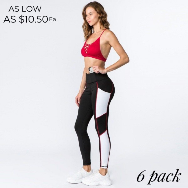 """High rise color block athletic leggings with side pocket detail.  • High rise waistband eliminates muffin top  • Hidden waistband pocket, deep hip pocket can hold keys, cash, phone  • Color block side detail  • Red stitched seams  • 4-way stretch fabric for a move with you feel  • Full length design  • Moisture wick fabric  • Flatlock seams prevent chafing, triangle gusset eliminates cameltoe  • Perfect for wearing to the gym, sports practice, running, yoga, zumba  • Imported   - Pack Breakdown: 6pcs / pack - Sizes: 2S / 2M / 2L - Inseam approximately 27"""" L - Composition: 88% Polyester, 12% Spandex"""