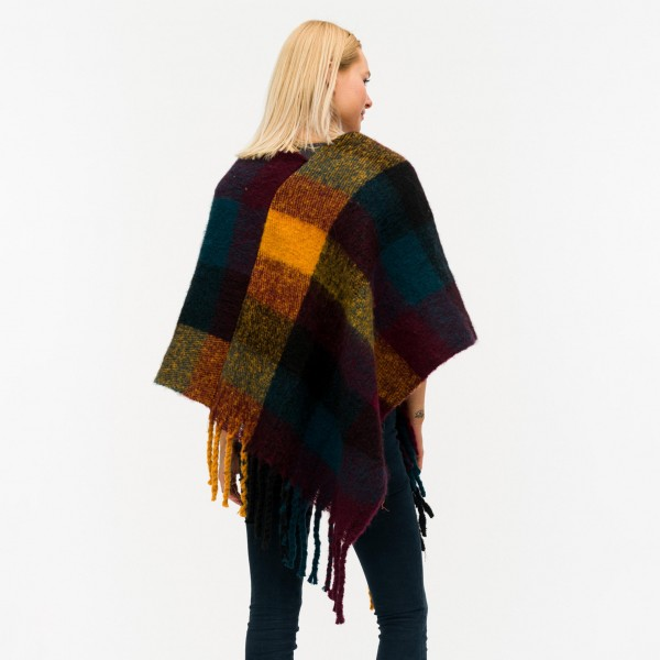"""Soft touch plaid poncho with fringes.  - One size fits most 0-14 - Approximately 40"""" in length - 40% Acrylic, 60% Polyester"""