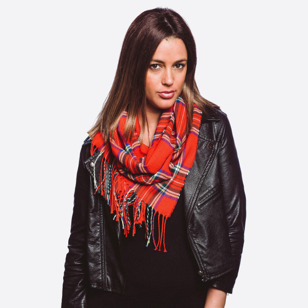"""Lightweight plaid print oblong scarf with fringes.  - Approximately 12"""" W x 76"""" L - 100% Polyester"""