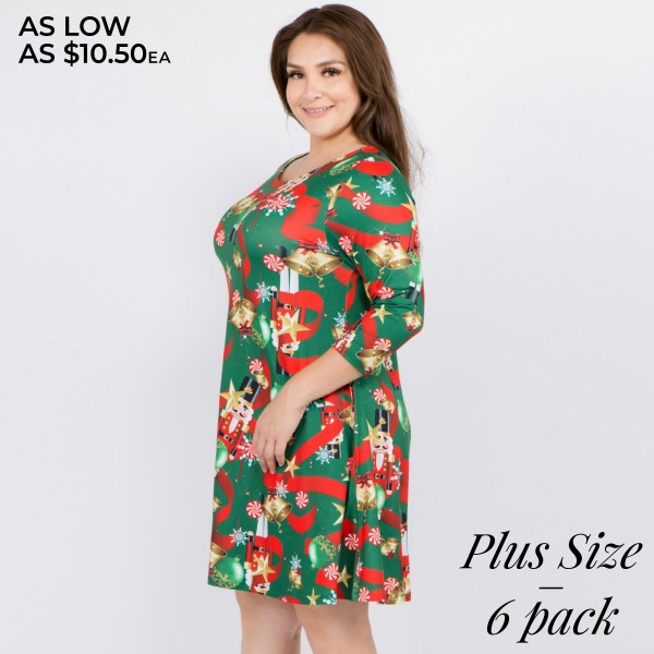 """Women's plus size Christmas nutcracker print A-Line dress with pocket details.  • 3/4 length sleeves • Crew neck • Two side seam pockets to keep your hands warm • A-line silhouette • Nutcracker Christmas print • Soft and comfortable fabric with stretch • Perfect for styling with heels or booties • Imported  - Pack Breakdown: 6pcs / pack - Sizes: 2-XL / 2-2XL / 2-3XL - Approximately 34"""" L - 95% Polyester, 5% Spandex"""