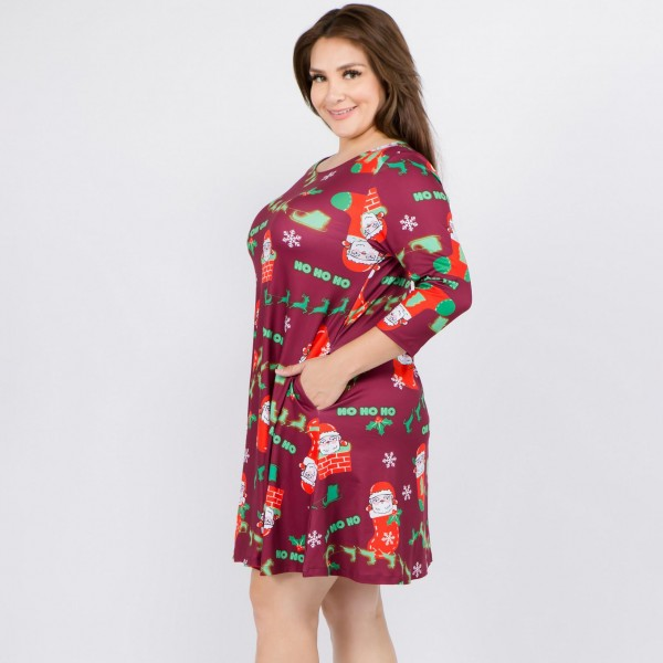 """Women's plus size Christmas Ho Ho Ho Santa print A-Line dress with pocket details.  • 3/4 length sleeves • Crew neck • Two side seam pockets to keep your hands warm • A-line silhouette • Ho Ho Ho Santa print • Soft and comfortable fabric with stretch • Perfect for styling with heels or booties • Imported  - Pack Breakdown: 6pcs / pack - Sizes: 2-XL / 2-2XL / 2-3XL - Approximately 34"""" L - 95% Polyester, 5% Spandex"""