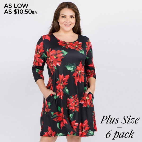 "Women's plus size Christmas poinsettia flower print A-Line dress with pocket details.  • 3/4 length sleeves • Crew neck • Two side seam pockets to keep your hands warm • A-line silhouette • Poinsettia flower print • Soft and comfortable fabric with stretch • Perfect for styling with heels or booties • Imported  - Pack Breakdown: 6pcs / pack - Sizes: 2-XL / 2-2XL / 2-3XL - Approximately 34"" L - 95% Polyester, 5% Spandex"
