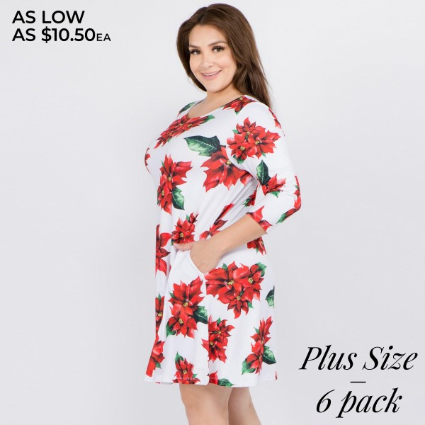 """Women's plus size Christmas poinsettia flower print A-Line dress with pocket details.  • 3/4 length sleeves • Crew neck • Two side seam pockets to keep your hands warm • A-line silhouette • Poinsettia flower print • Soft and comfortable fabric with stretch • Perfect for styling with heels or booties • Imported  - Pack Breakdown: 6pcs / pack - Sizes: 2-XL / 2-2XL / 2-3XL - Approximately 34"""" L - 95% Polyester, 5% Spandex"""