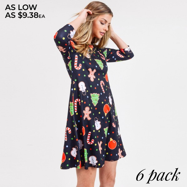 """Women's gingerbread Christmas print A line dress with pocket details.  • 3/4 length sleeves • Crew neck • Two side seam pockets to keep your hands warm • A-line silhouette • Gingerbread man print • Soft and comfortable fabric with stretch • Perfect for styling with heels or booties • Imported  - Pack Breakdown: 6pcs / pack - Sizes: 2S / 2M / 2L - Approximately 34"""" L - 95% Polyester, 5% Spandex"""