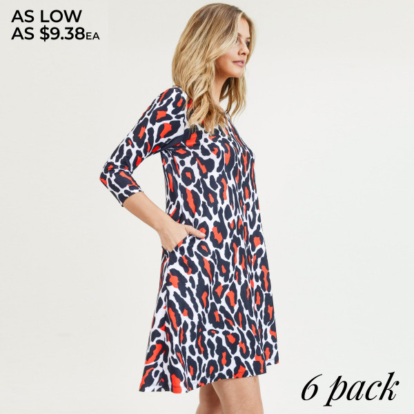"""Women's leopard print A line dress with pocket details.  • 3/4 length sleeves • Crew neck • Two side pockets to keep your hands warm • A-line silhouette • Soft and comfortable fabric with stretch • Perfect for styling with sneaker or heels • Imported  - Pack Breakdown: 6pcs / pack - Sizes: 2S / 2M / 2L - Approximately 34"""" L - Composition: 95% Polyester, 5% Spandex"""