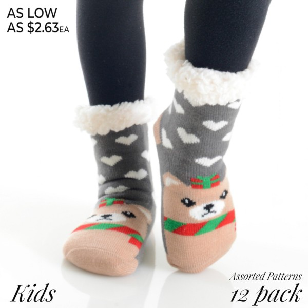 Kids assorted Christmas character faux sherpa lined slipper socks.  • Various Christmas characters  • Silicon rubber dot traction bottom  • Reinforced toe seam  • Plush faux sherpa lining  • Imported   - Pack Breakdown: 12pcs / pack - Size: 6 S/M / 6 M/L - Composition: 40% Acrylic, 60% Polyester