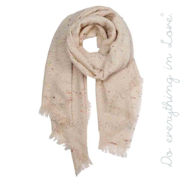 "Do everything in Love brand confetti knit scarf with frayed edges.  - Approximately 28"" W x 80"" L  - 100% Polyester"