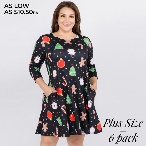 """Women's plus size gingerbread Christmas print A line dress with pocket details.  • 3/4 length sleeves • Crew neck • Two side seam pockets to keep your hands warm • A-line silhouette • Gingerbread man print • Soft and comfortable fabric with stretch • Perfect for styling with heels or booties • Imported  - Pack Breakdown: 6pcs / pack - Sizes: 2-XL / 2-2XL / 2-3XL - Approximately 34"""" L - 95% Polyester, 5% Spandex"""