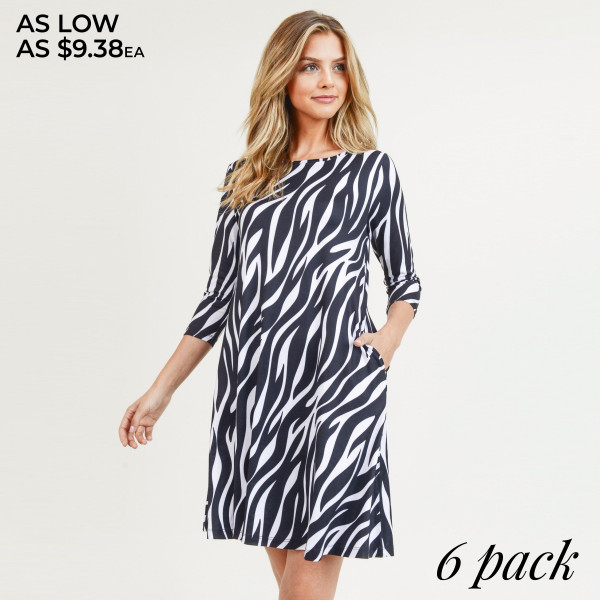 """Women's zebra print A line dress with pocket details.  • 3/4 length sleeves • Crew neck • Two side pockets to keep your hands warm • A-line silhouette • Soft and comfortable fabric with stretch • Perfect for styling with sneaker or heels • Imported  - Pack Breakdown: 6pcs / pack - Sizes: 2S / 2M / 2L - Approximately 34"""" L - Composition: 95% Polyester, 5% Spandex"""