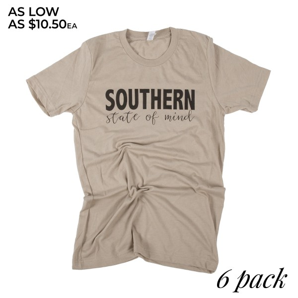 """Tan Bella Canvas short sleeve boutique graphic tee featuring """"Southern State of Mind"""".  - Pack Breakdown: 6pcs / pack - 1-S / 2-M / 2-L / 1-XL - 52% Cotton, 48% Polyester"""