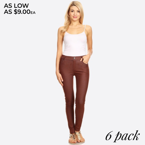 """Women's classic skinny jeggings.  • Full length jeggings featuring a light sheen and jean-style • Lightweight, breathable cotton-blend material   • Belt loops with 5 functional pockets  • Shake Head Button  • Super Stretchy  • Pull up Style    - Pack Breakdown: 6pcs/pack - Size: 2-S / 2-M / 2-L  - Inseam approximately 29"""" L - 70% Cotton, 25% Polyester, 5% Spandex"""