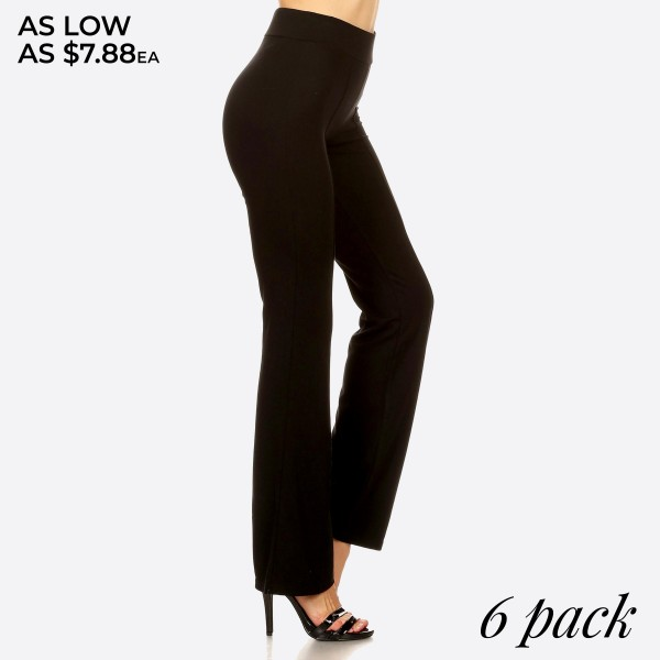 """Women's front seam black casual flare pants.  • Elastic at Waist • Wide-Leg Hem • Front Seams • High Waisted • Care: Machine Wash Cold, Do not Bleach, Tumble Dry Low, Iron Low • Imported  - Pack Breakdown: 6pcs / pack - Sizes: 2S / 2M / 2L - Inseam approximately 31"""" L - 65% Rayon, 30% Nylon, 6% Spandex"""