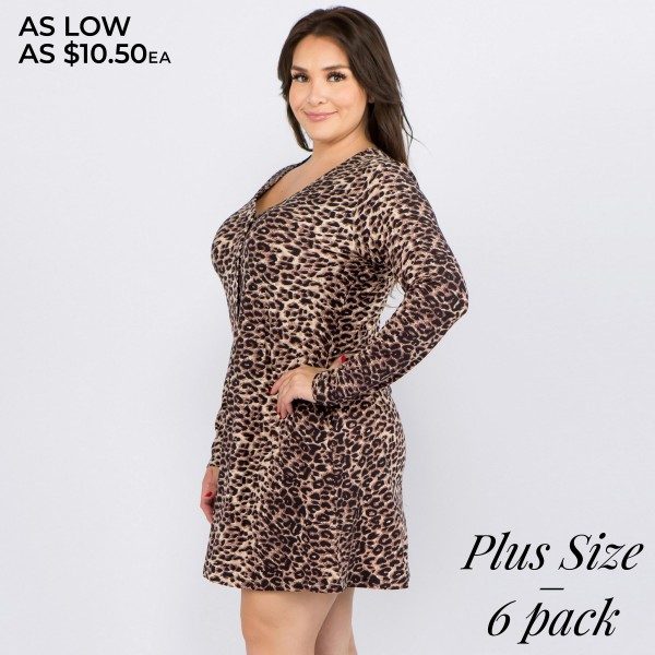 """Women's plus size leopard print faux button down A line dress.  • Long sleeves; v-neckline • Faux button front placket • Two side seam pockets • Leopard print throughout • A-line silhouette • Soft and comfortable fabric with stretch • Above the knee length hem • Imported  - Pack Breakdown: 6pcs / pack - Sizes: 2XL / 2-2XL / 2-3XL - Approximately 34"""" L - 95% Polyester, 5% Spandex"""