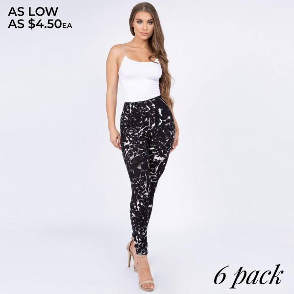 "Women's black and white leopard print leggings.  • Long, skinny leg design • High rise • Elasticized waistband • Black/white leopard print • Pull-on styling • Super soft peach skin fabric with stretch • Full length • Fits like a glove • Hand Wash Cold. Do not bleach. Hang Dry • Imported  - Pack Breakdown: 6pcs/pack  - Size: One size fits most 0-14 - Inseam approximately 28"" in length - 95% Polyester, 5% Spandex"