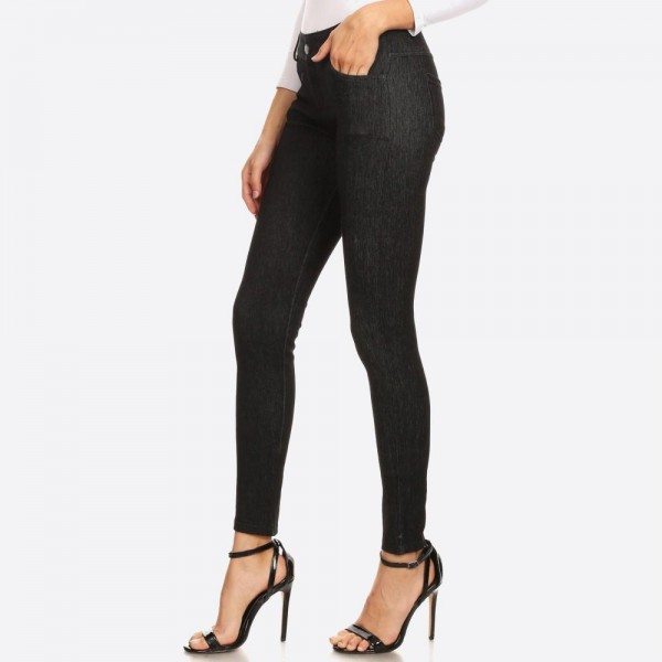 """Women's faded out soft knit skinny jeggings with pockets.  • Faux front button closure • Mid rise • 5 Pockets • Faded color accents • Skinny leg • Super soft, stretchy • Pull up styling • Imported  - Pack Breakdown: 6pcs/pack - Sizes: 2-S / 2-M / 2-L - Inseam approximately 28"""" L - 60% Cotton, 33% Polyester, 7% Spandex"""