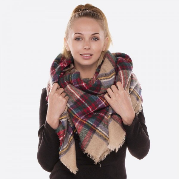 """Plaid blanket scarf with frayed edges.  - Approximately 56"""" x 56"""" in size - 100% Acrylic"""