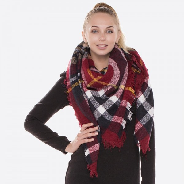 """Plaid print blanket scarf with frayed edges.  - Approximately 54"""" x 54"""" - 100% Acrylic"""