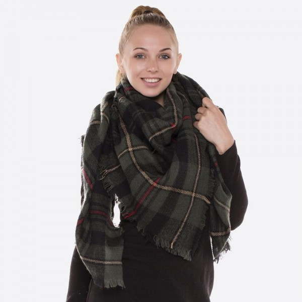 "Plaid blanket scarf with frayed edges.  - Approximately 56"" x 56"" in size - 100% Acrylic"