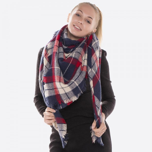 "Plaid print blanket scarf with frayed edges.  - Approximately 54"" x 54""  - 100% Acrylic"