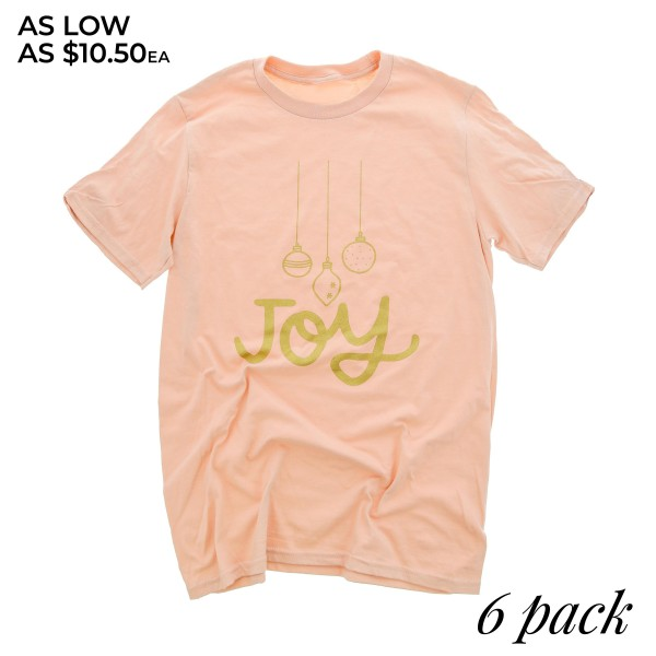 "Light Pink Anvil Lightweight short sleeve ornament ""Joy"" glitter script printed boutique graphic tee.  - Pack Breakdown: 6pcs / pack - 1-S / 2-M / 2-L / 1-XL - 100% Cotton"