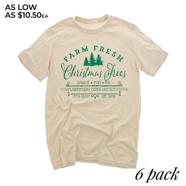 "Beige Bella Canvas short sleeve Christmas printed boutique graphic tee.  ""Farm Fresh Christmas Trees""   - Pack Breakdown: 6pcs / pack - 1-S / 2-M / 2-L / 1-XL - 100% Cotton"