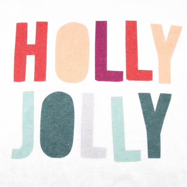 "White Gildan Dryblend short sleeve ""Holly Jolly"" Christmas printed boutique graphic tee.  - Pack Breakdown: 6pcs / pack - 1-S / 2-M / 2-L / 1-XL - 50% Cotton, 50% Polyester"