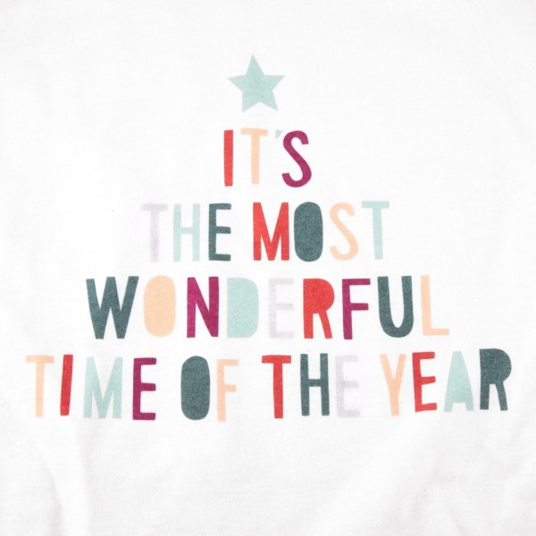 "White Gilden Dryblend short sleeve ""It's the most wonderful time of the year"" Christmas printed boutique graphic tee.  - Pack Breakdown: 6pcs / pack - 1-S / 2-M / 2-L / 1-XL - 50% Cotton, 50% Polyester"