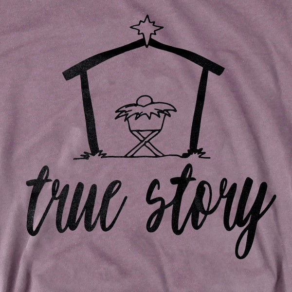 "Storm Grey Bella Canvas short sleeve Bethlehem ""True Story"" Christmas printed boutique graphic tee.  - Pack Breakdown: 6pcs / pack - 1-S / 2-M / 2-L / 1-XL - 100% Cotton"
