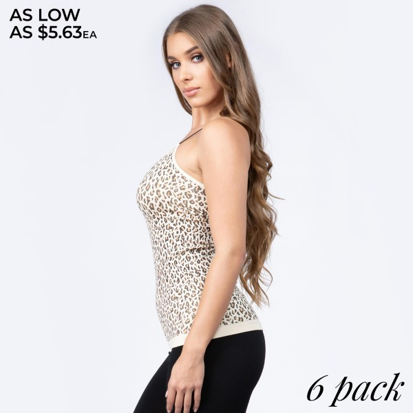 "Women's seamless leopard print camisole.  • Soft and comfortable thin straps • Leopard pattern throughout • Long length hem • Fits like a glove • Seamless design for comfort • Smooth and stretchy fabric • Perfect for layering under semi-sheer style or by itself • Imported  - Pack Breakdown: 6pcs/pack - One size fits most 0-14 - Approximately 20"" in length - 92% Nylon, 8% Spandex"