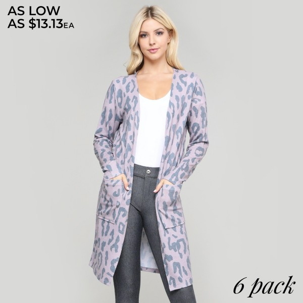 "Women's lightweight leopard print cardigan.  • Long sleeves • Open front design • Two pockets for keeping your hands warm • Leopard print • Long length hem • Soft and comfortable • Imported  - Pack Breakdown: 6pcs/pack - Sizes: 2S / 2M / 2L - Approximately 36"" in length - 80% Polyester, 16% Cotton, 4% Spandex"