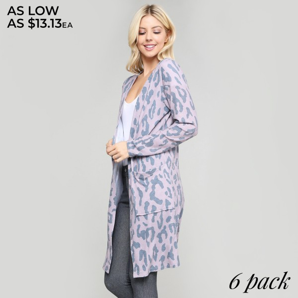 """Women's lightweight leopard print cardigan.  • Long sleeves • Open front design • Two pockets for keeping your hands warm • Leopard print • Long length hem • Soft and comfortable • Imported  - Pack Breakdown: 6pcs/pack - Sizes: 2S / 2M / 2L - Approximately 36"""" in length - 80% Polyester, 16% Cotton, 4% Spandex"""