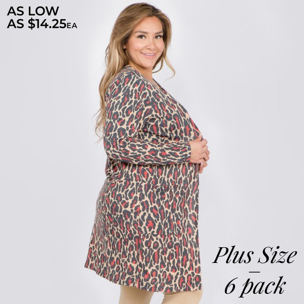 "Women's plus size lightweight Red leopard print cardigan.  • Long sleeves • Open front design • Two pockets for keeping your hands warm • Leopard print • Long length hem • Soft and comfortable • Imported  - Pack Breakdown: 6pcs/pack - Sizes: 2-XL / 2-2XL / 2-3XL - Approximately 38"" in length - 80% Polyester, 16% Cotton, 4% Spandex"