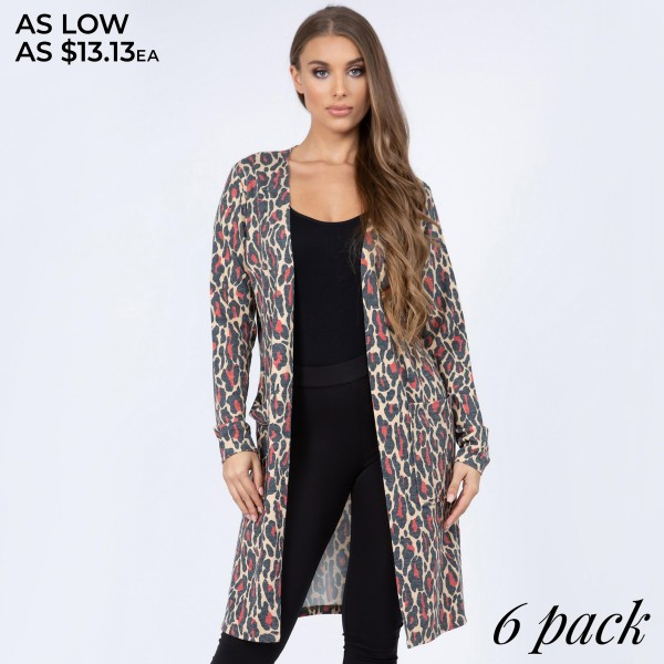 "Women's lightweight Red leopard print cardigan.  • Long sleeves • Open front design • Two pockets for keeping your hands warm • Leopard print • Long length hem • Soft and comfortable • Imported  - Pack Breakdown: 6pcs/pack - Sizes: 2S / 2M / 2L - Approximately 36"" in length - 80% Polyester, 14% Cotton, 4% Spandex"