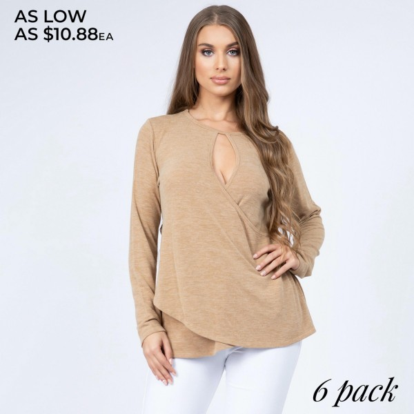 """Women's solid color long sleeve loose fitting surplice hem sweater top.  • Long sleeves • Crew neck with keyhole accent • Wrap around detail • Surplice hemline • Soft and comfortable cotton-blend fabrication • Perfect for styling with jeans or leggings • Imported  - Pack Breakdown: 6pcs/pack - Sizes: 2S / 2M / 2L - Approximately 26"""" in length - 80% Polyester, 16% Cotton, 4% Spandex"""