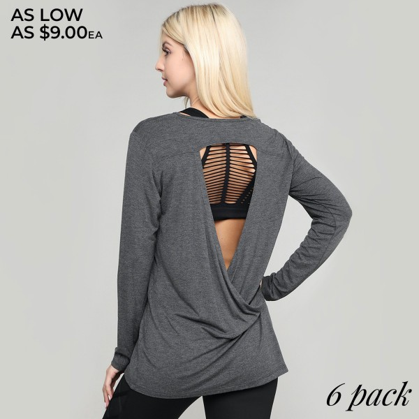 """Women's comfy solid color long sleeve cut out back top.  • Long sleeves • Crew neckline • Cut out back design • Soft and comfortable fabric with stretch • Layer over sports bras, camis, or bralettes • Imported  - Pack Breakdown: 6pcs/pack - Sizes: 2S / 2M / 2L  - Approximately 27.5"""" in length - 95% Rayon, 5% Spandex"""