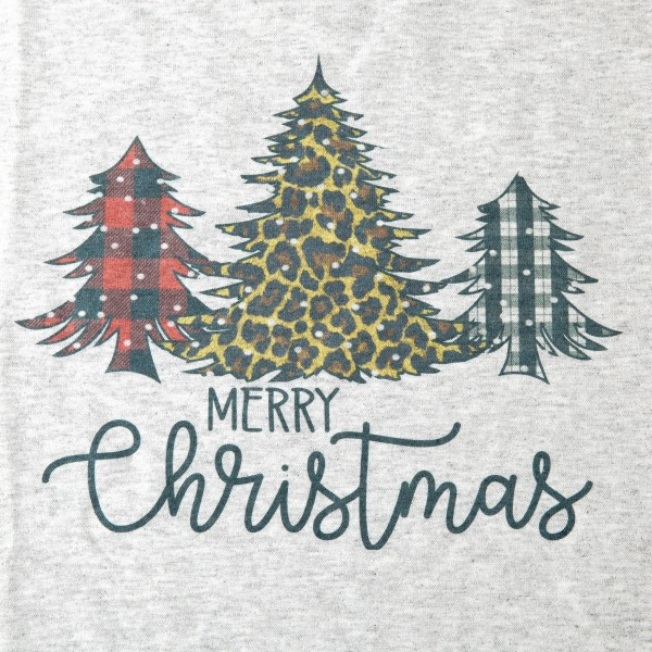 Heather Grey Gildan Dryblend Merry Christmas leopard print tree graphic boutique tee with buffalo check.  - Pack Breakdown: 6pcs/pack - Sizes: 1S / 2M / 2L / 1XL - 50% Cotton, 50% Polyester