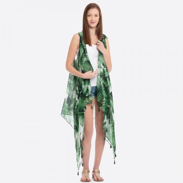 "Women's lightweight tropical palm leaf kimono vest with tassel accents.  - One size fits most 0-14 - Approximately 32"" L in back and 47"" L in front - 100% Polyester"