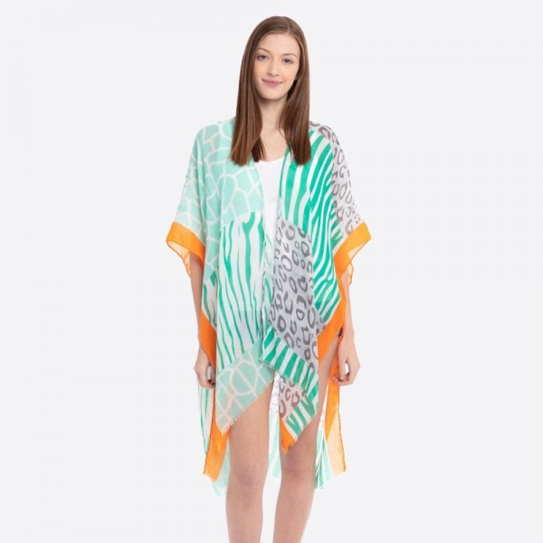 "Women's lightweight multicolor animal print kimono.  - One size fits most 0-14 - Approximately 37"" L - 100% Polyester"